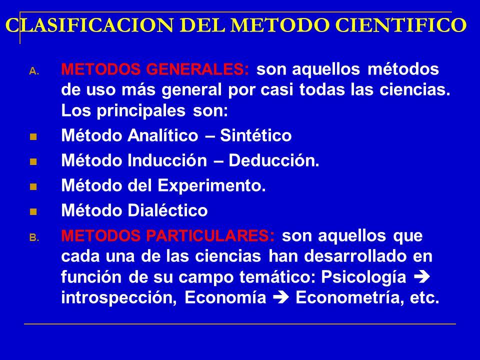 CLASIFICACION DEL METODO CIENTIFICO A. METODOS GENERALES : son aquellos métodos de uso más general por casi todas las ciencias. Los principales son: M