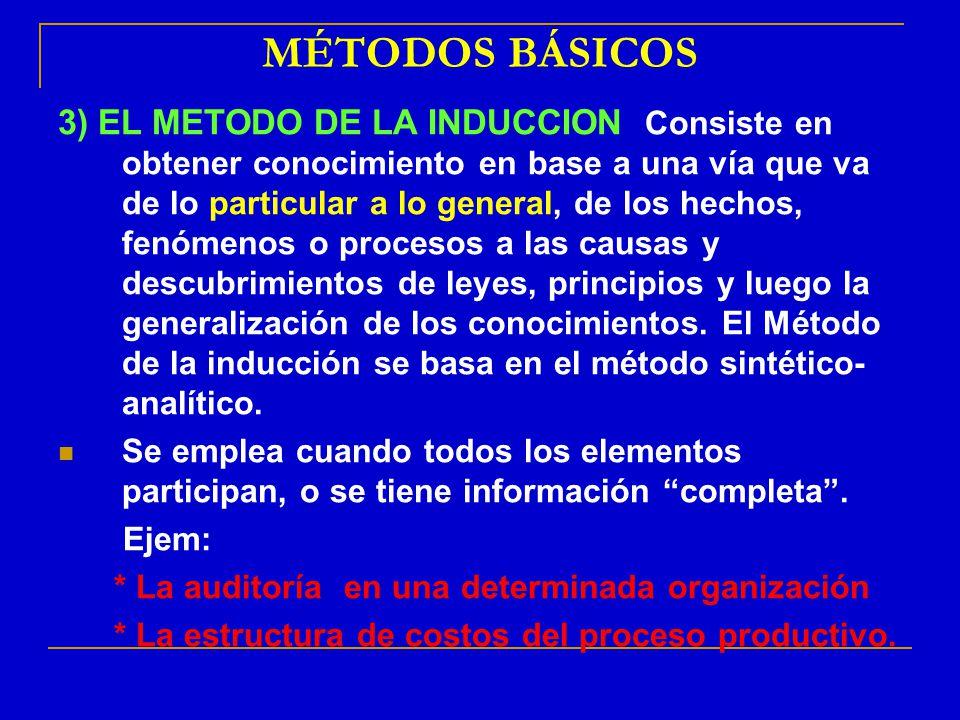 MÉTODOS BÁSICOS 3) EL METODO DE LA INDUCCION: Consiste en obtener conocimiento en base a una vía que va de lo particular a lo general, de los hechos,