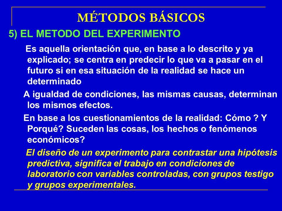 MÉTODOS BÁSICOS 5) EL METODO DEL EXPERIMENTO: Es aquella orientación que, en base a lo descrito y ya explicado; se centra en predecir lo que va a pasa