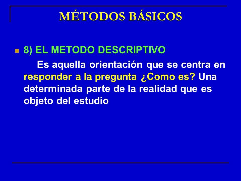 MÉTODOS BÁSICOS 8) EL METODO DESCRIPTIVO Es aquella orientación que se centra en responder a la pregunta ¿Como es? Una determinada parte de la realida