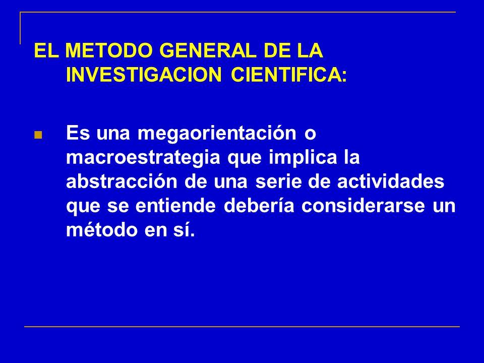 EL METODO GENERAL DE LA INVESTIGACION CIENTIFICA: Es una megaorientación o macroestrategia que implica la abstracción de una serie de actividades que