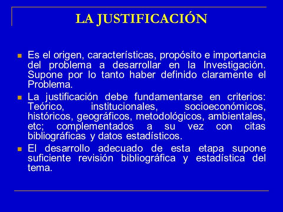 LA JUSTIFICACIÓN Es el origen, características, propósito e importancia del problema a desarrollar en la Investigación. Supone por lo tanto haber defi