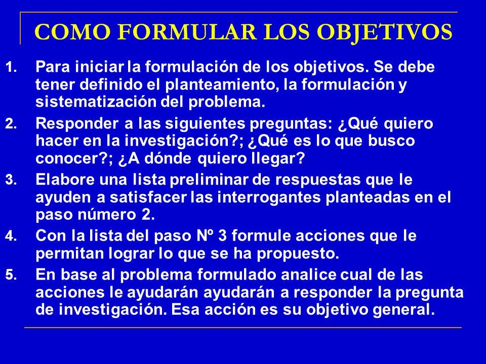 COMO FORMULAR LOS OBJETIVOS 1. Para iniciar la formulación de los objetivos. Se debe tener definido el planteamiento, la formulación y sistematización