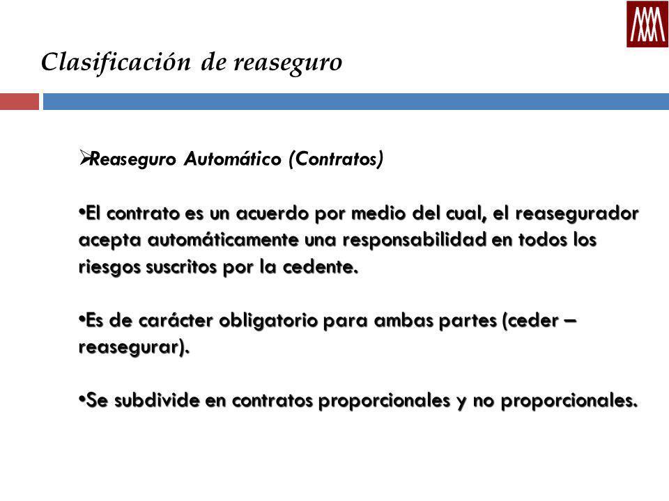 Clasificación de reaseguro Reaseguro Automático (Contratos) El contrato es un acuerdo por medio del cual, el reasegurador acepta automáticamente una responsabilidad en todos los riesgos suscritos por la cedente.El contrato es un acuerdo por medio del cual, el reasegurador acepta automáticamente una responsabilidad en todos los riesgos suscritos por la cedente.