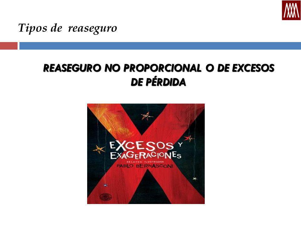 Tipos de reaseguro REASEGURO NO PROPORCIONAL O DE EXCESOS DE PÉRDIDA
