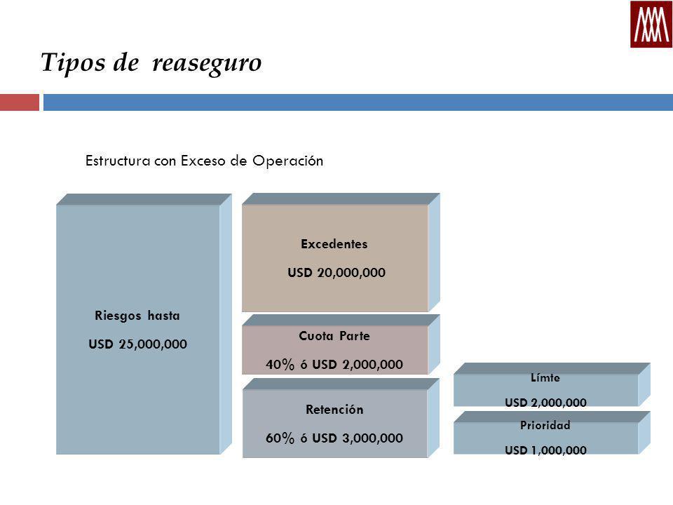 Tipos de reaseguro Estructura con Exceso de Operación Riesgos hasta USD 25,000,000 Retención 60% ó USD 3,000,000 Cuota Parte 40% ó USD 2,000,000 Excedentes USD 20,000,000 Límte USD 2,000,000 Prioridad USD 1,000,000