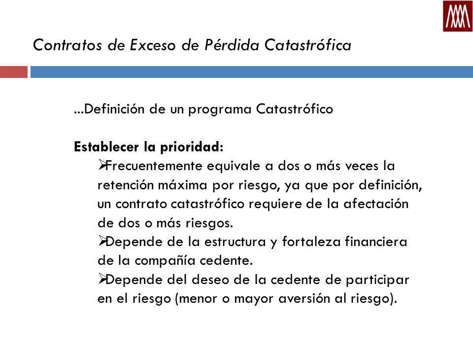 Contratos de Exceso de Pérdida Catastrófica...Definición de un programa Catastrófico Establecer la prioridad: Frecuentemente equivale a dos o más veces la retención máxima por riesgo, ya que por definición, un contrato catastrófico requiere de la afectación de dos o más riesgos.