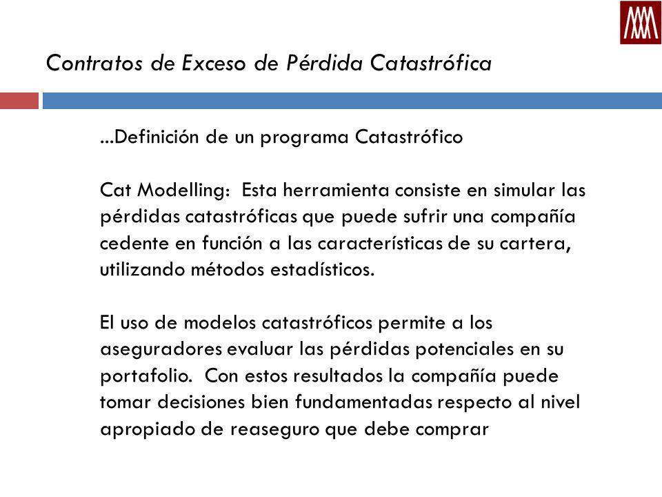 Contratos de Exceso de Pérdida Catastrófica...Definición de un programa Catastrófico Cat Modelling: Esta herramienta consiste en simular las pérdidas catastróficas que puede sufrir una compañía cedente en función a las características de su cartera, utilizando métodos estadísticos.