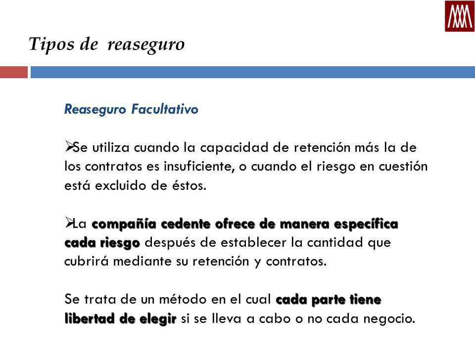Tipos de reaseguro Reaseguro Facultativo Se utiliza cuando la capacidad de retención más la de los contratos es insuficiente, o cuando el riesgo en cuestión está excluido de éstos.