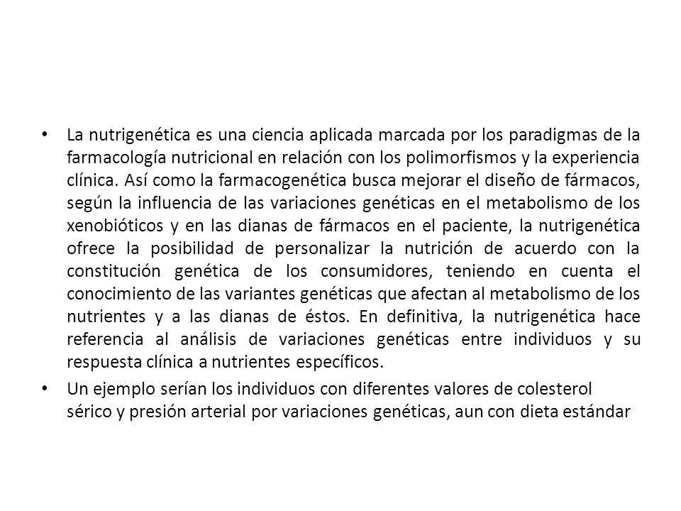 La nutrigenética es una ciencia aplicada marcada por los paradigmas de la farmacología nutricional en relación con los polimorfismos y la experiencia