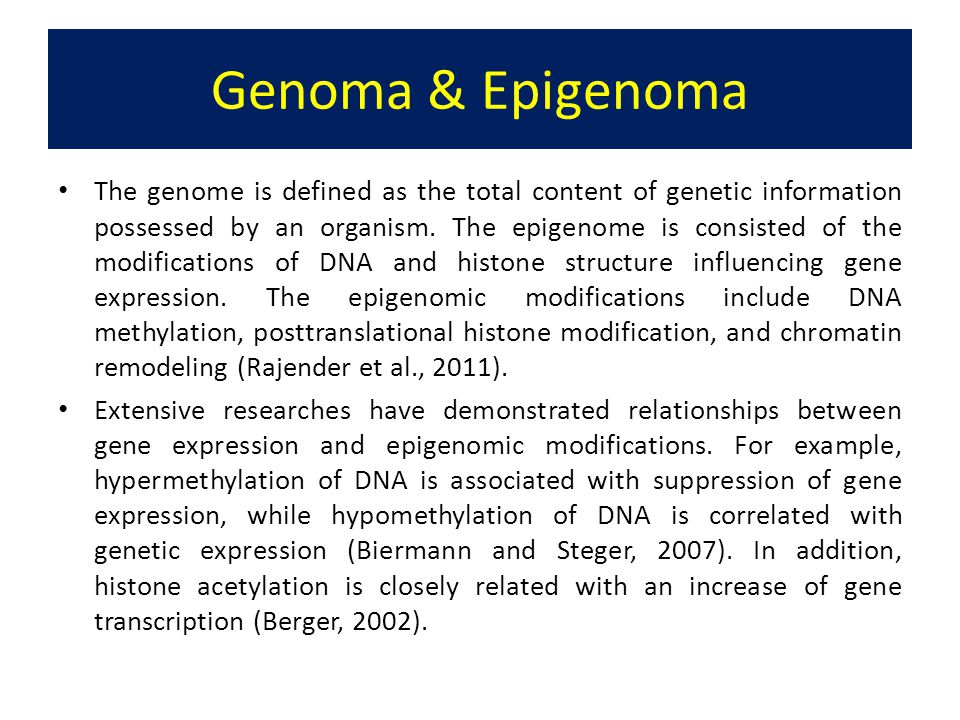 Genoma & Epigenoma The genome is defined as the total content of genetic information possessed by an organism. The epigenome is consisted of the modif