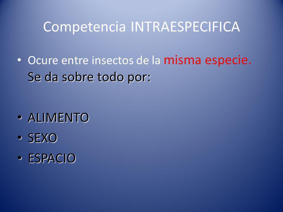 Competencia INTRAESPECIFICA Se da sobre todo por: Ocure entre insectos de la misma especie.