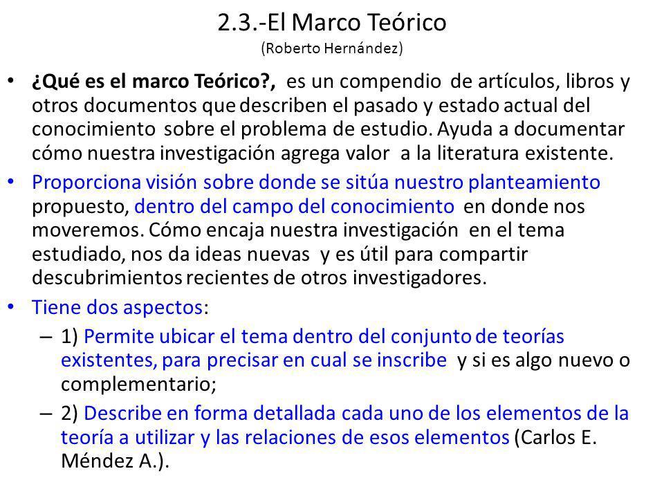 2.3.-El Marco Teórico (Roberto Hernández) ¿Qué es el marco Teórico?, es un compendio de artículos, libros y otros documentos que describen el pasado y estado actual del conocimiento sobre el problema de estudio.