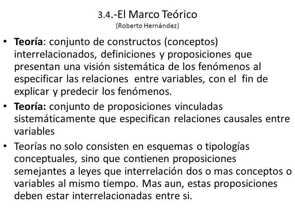 3.4.-El Marco Teórico (Roberto Hernández) Teoría: conjunto de constructos (conceptos) interrelacionados, definiciones y proposiciones que presentan una visión sistemática de los fenómenos al especificar las relaciones entre variables, con el fin de explicar y predecir los fenómenos.