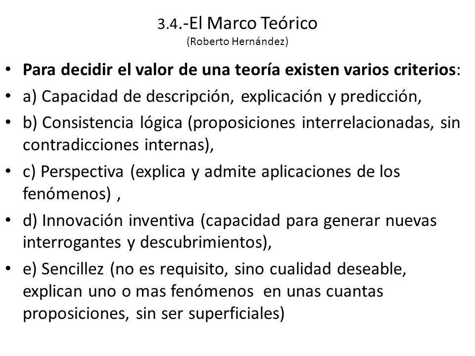 3.4.-El Marco Teórico (Roberto Hernández) Para decidir el valor de una teoría existen varios criterios: a) Capacidad de descripción, explicación y predicción, b) Consistencia lógica (proposiciones interrelacionadas, sin contradicciones internas), c) Perspectiva (explica y admite aplicaciones de los fenómenos), d) Innovación inventiva (capacidad para generar nuevas interrogantes y descubrimientos), e) Sencillez (no es requisito, sino cualidad deseable, explican uno o mas fenómenos en unas cuantas proposiciones, sin ser superficiales)