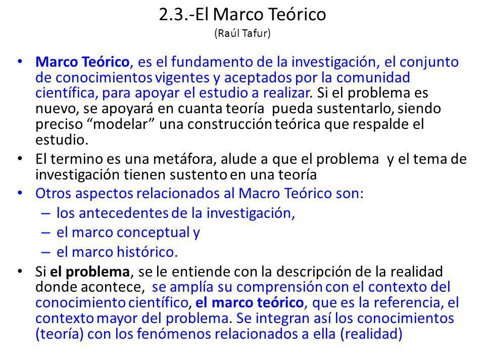 2.3.-El Marco Teórico (Raúl Tafur) Marco Teórico, es el fundamento de la investigación, el conjunto de conocimientos vigentes y aceptados por la comunidad científica, para apoyar el estudio a realizar.