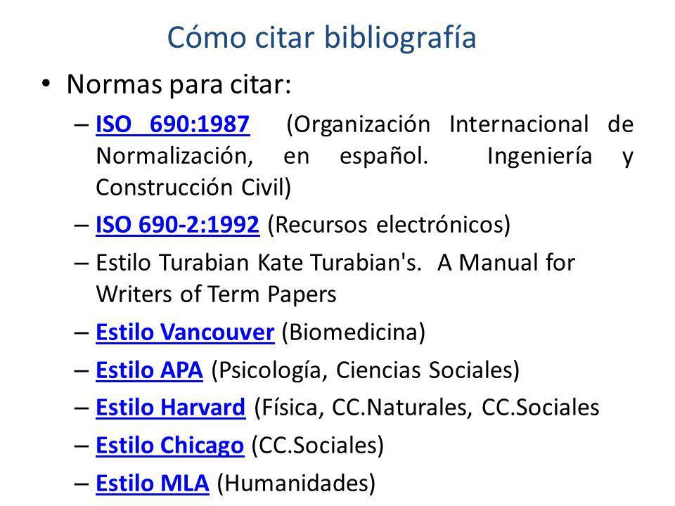 Cómo citar bibliografía Normas para citar: – ISO 690:1987 (Organización Internacional de Normalización, en español.
