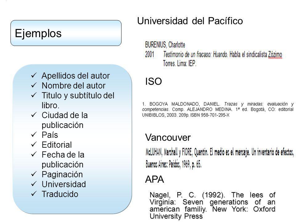 Apellidos del autor Nombre del autor Titulo y subtítulo del libro.