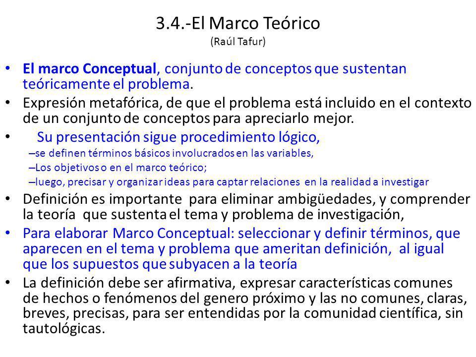 3.4.-El Marco Teórico (Raúl Tafur) El marco Conceptual, conjunto de conceptos que sustentan teóricamente el problema.
