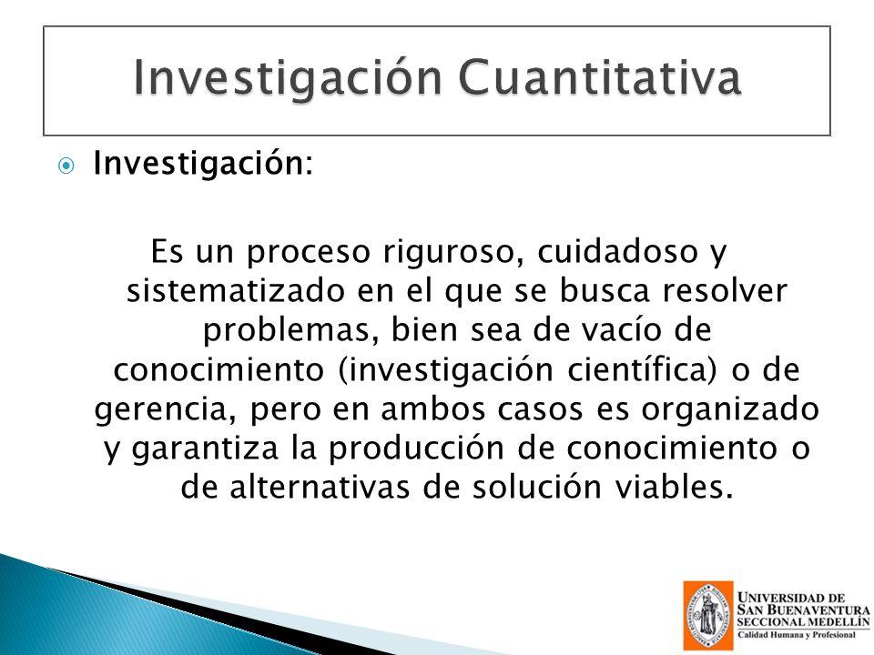 Investigación: Es un proceso riguroso, cuidadoso y sistematizado en el que se busca resolver problemas, bien sea de vacío de conocimiento (investigaci