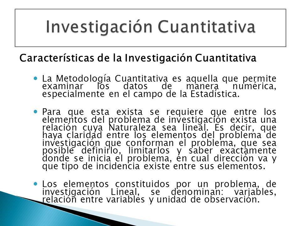 Características de la Investigación Cuantitativa La Metodología Cuantitativa es aquella que permite examinar los datos de manera numérica, especialmen