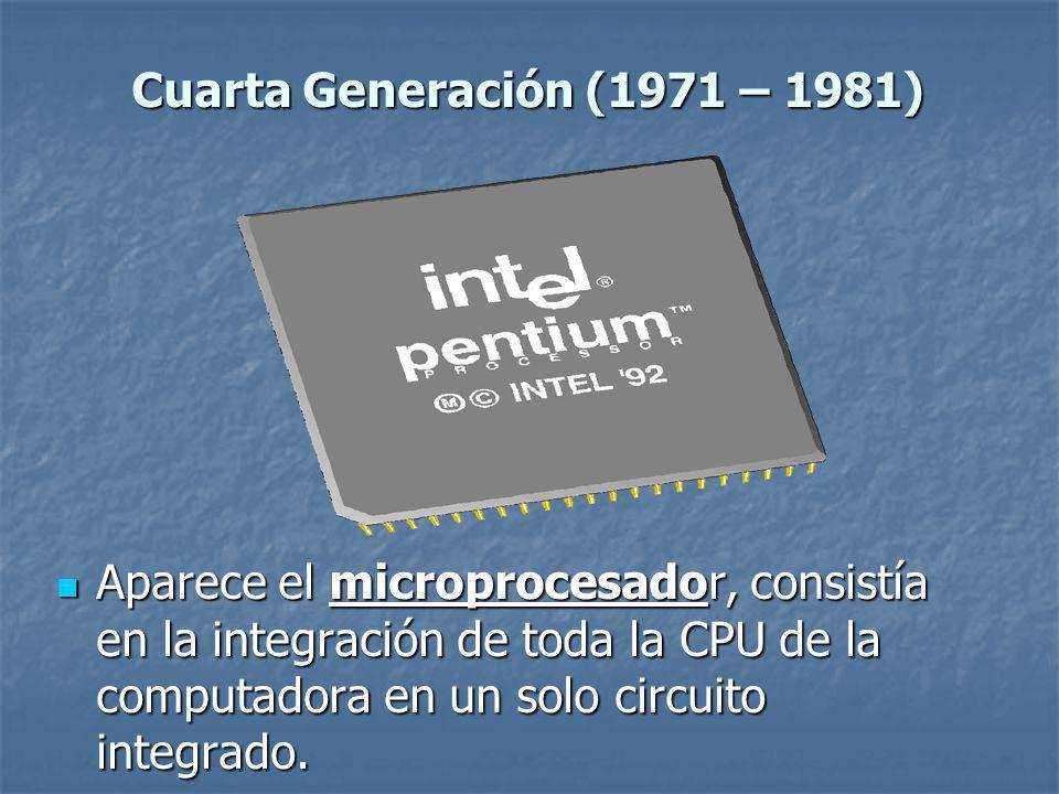 Aparece el microprocesador, consistía en la integración de toda la CPU de la computadora en un solo circuito integrado.
