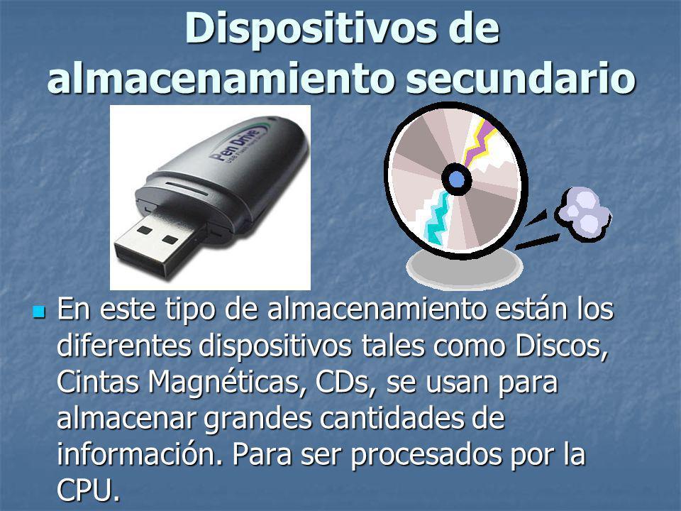 En este tipo de almacenamiento están los diferentes dispositivos tales como Discos, Cintas Magnéticas, CDs, se usan para almacenar grandes cantidades de información.