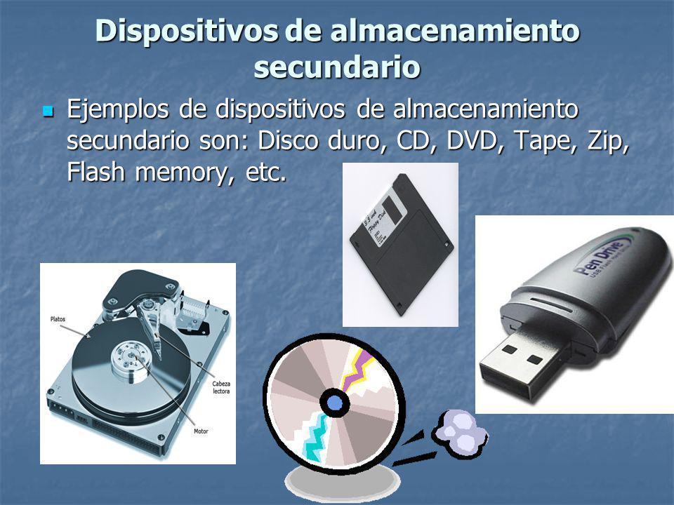 Ejemplos de dispositivos de almacenamiento secundario son: Disco duro, CD, DVD, Tape, Zip, Flash memory, etc.