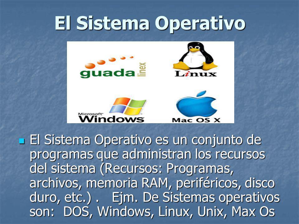 El Sistema Operativo El Sistema Operativo es un conjunto de programas que administran los recursos del sistema (Recursos: Programas, archivos, memoria RAM, periféricos, disco duro, etc.).