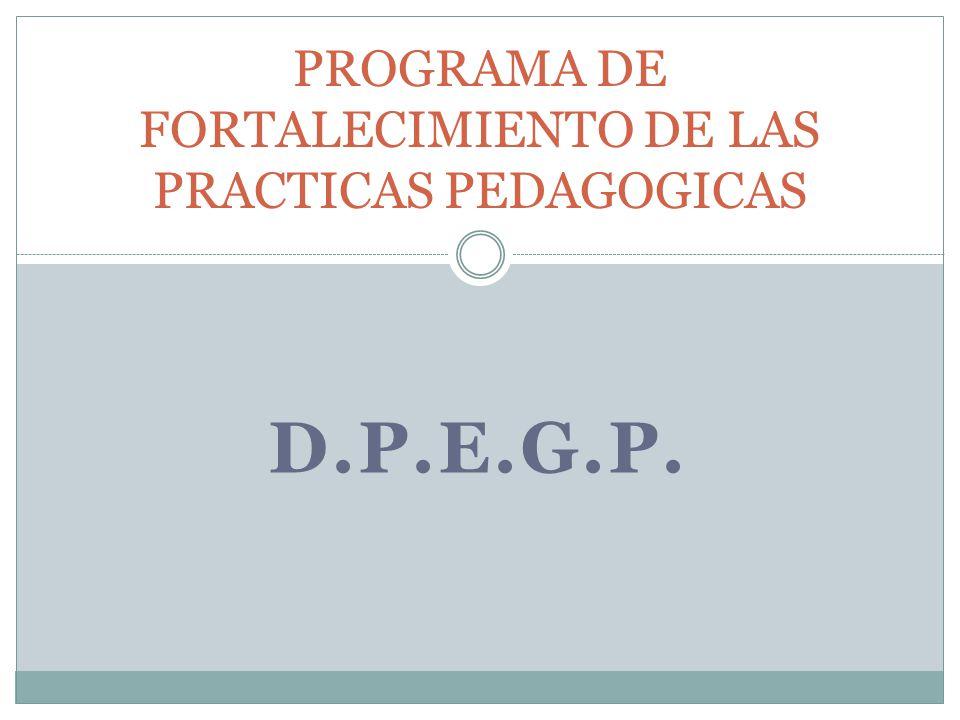 D.P.E.G.P. PROGRAMA DE FORTALECIMIENTO DE LAS PRACTICAS PEDAGOGICAS