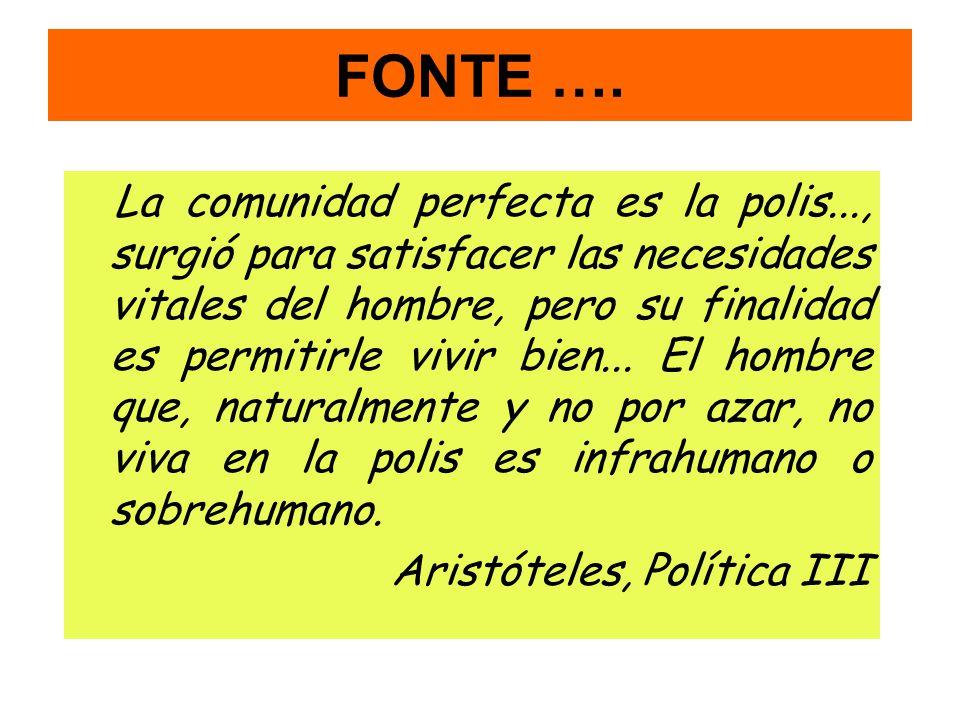 FONTE …. La comunidad perfecta es la polis..., surgió para satisfacer las necesidades vitales del hombre, pero su finalidad es permitirle vivir bien..