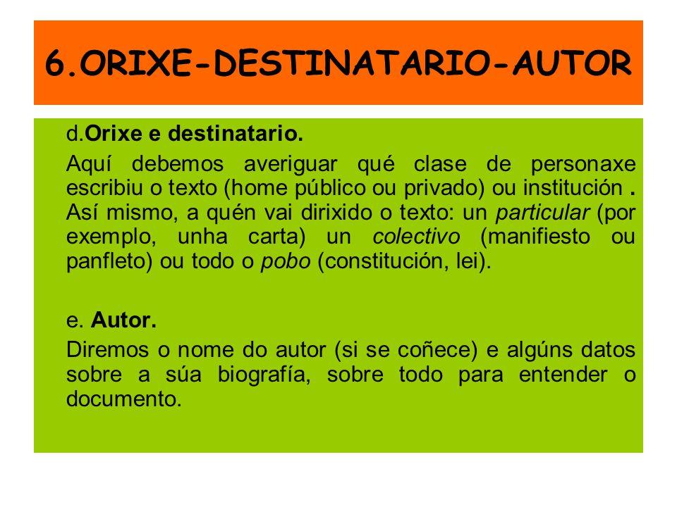6.ORIXE-DESTINATARIO-AUTOR d.Orixe e destinatario. Aquí debemos averiguar qué clase de personaxe escribiu o texto (home público ou privado) ou institu