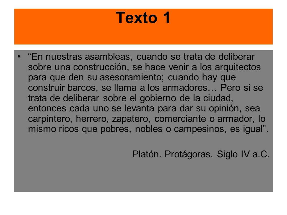 Texto 1 En nuestras asambleas, cuando se trata de deliberar sobre una construcción, se hace venir a los arquitectos para que den su asesoramiento; cua