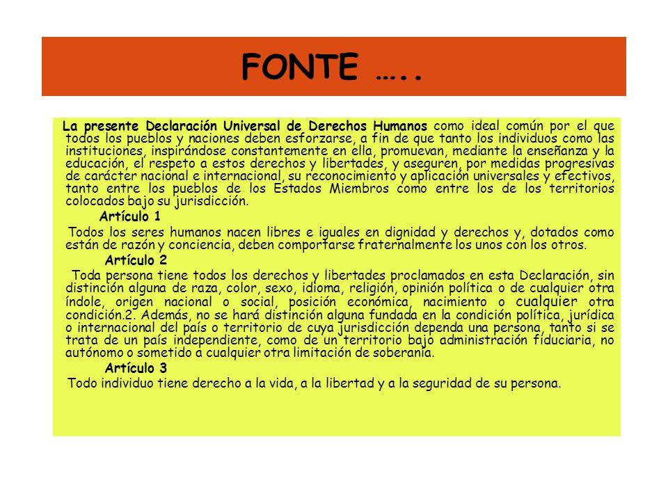 FONTE ….. La presente Declaración Universal de Derechos Humanos como ideal común por el que todos los pueblos y naciones deben esforzarse, a fin de qu