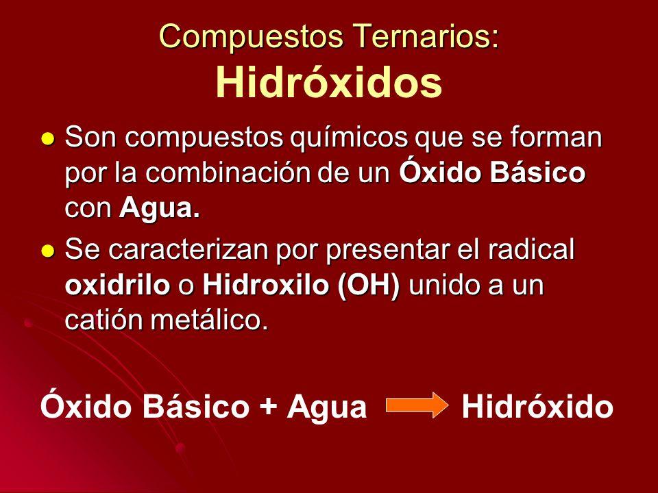 Compuestos Ternarios: Compuestos Ternarios: Hidróxidos Son compuestos químicos que se forman por la combinación de un Óxido Básico con Agua. Son compu
