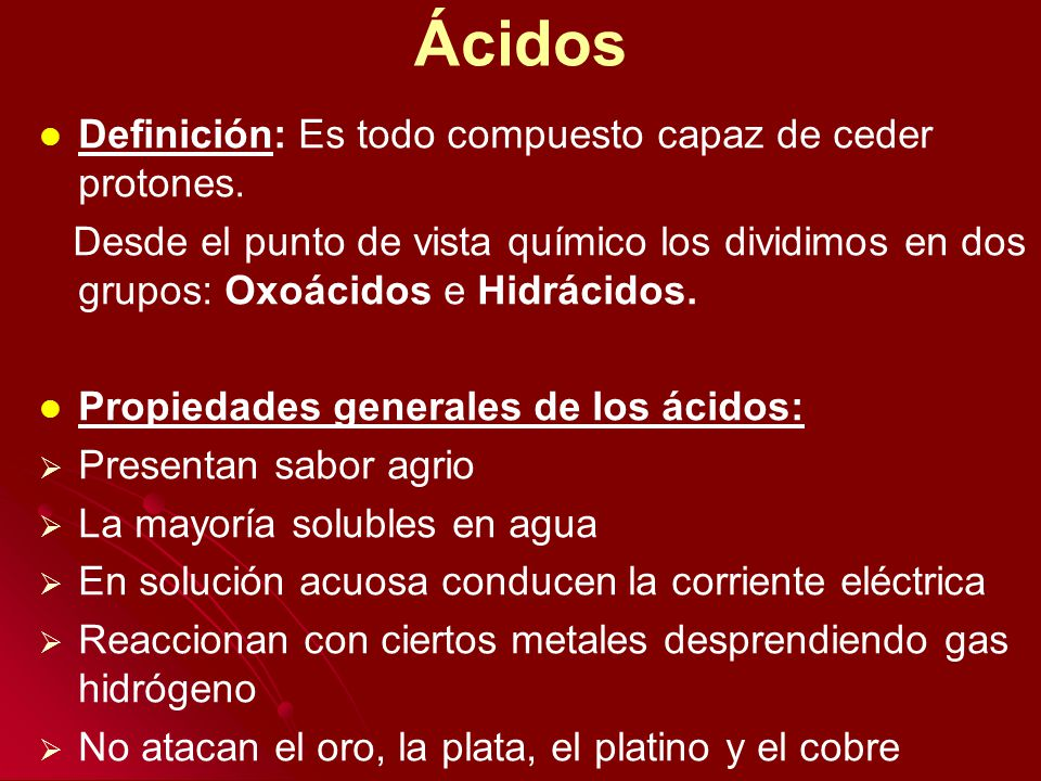 Hidrácidos Existen cinco hidruros no metálicos que al disolverse en agua adquieren propiedades ácidas, estos compuestos constituyen el grupo de los Hidrácidos.