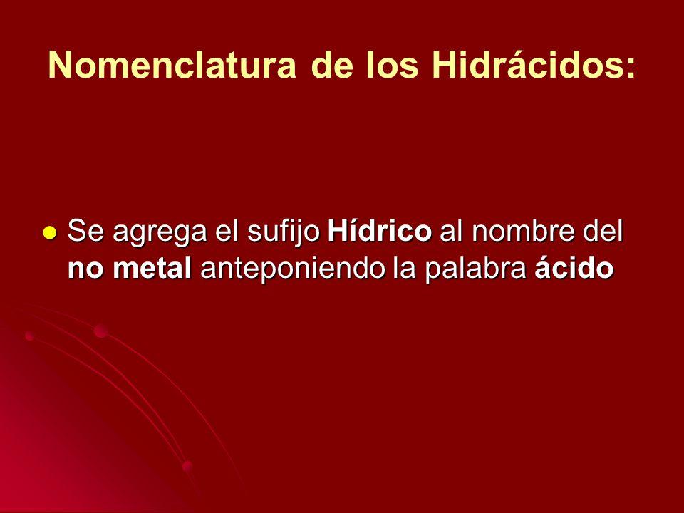 Nomenclatura de los Hidrácidos: Se agrega el sufijo Hídrico al nombre del no metal anteponiendo la palabra ácido Se agrega el sufijo Hídrico al nombre