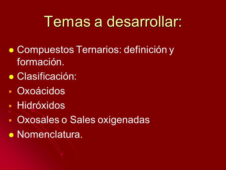 Temas a desarrollar: Compuestos Ternarios: definición y formación. Clasificación: Oxoácidos Hidróxidos Oxosales o Sales oxigenadas Nomenclatura.