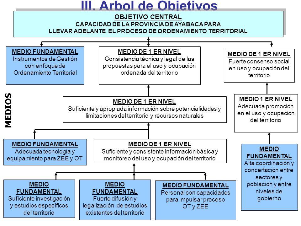 III. Arbol de Objetivos MEDIO FUNDAMENTAL Suficiente investigación y estudios específicos del territorio MEDIO FUNDAMENTAL Fuerte difusión y legalizac