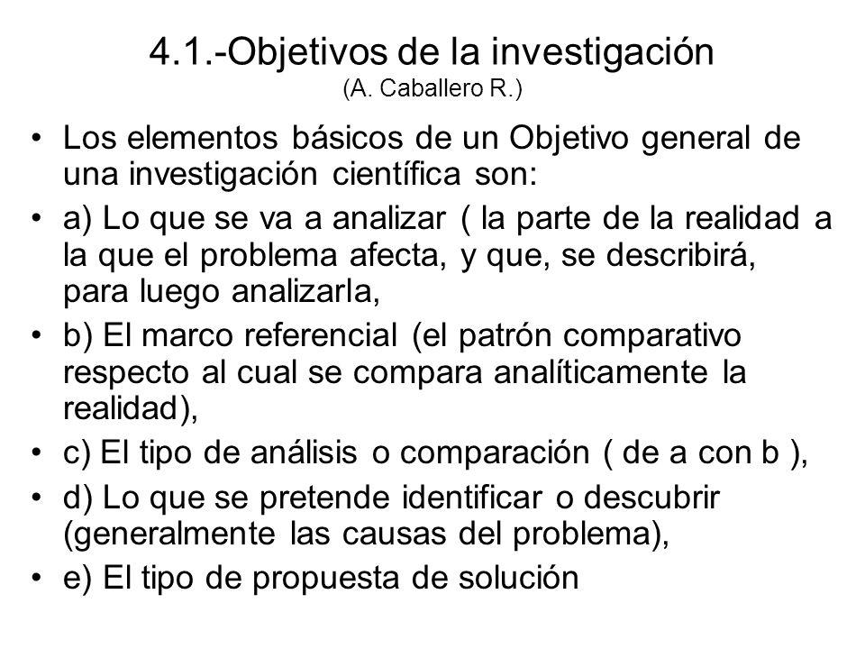 Los elementos básicos de un Objetivo general de una investigación científica son: a) Lo que se va a analizar ( la parte de la realidad a la que el problema afecta, y que, se describirá, para luego analizarla, b) El marco referencial (el patrón comparativo respecto al cual se compara analíticamente la realidad), c) El tipo de análisis o comparación ( de a con b ), d) Lo que se pretende identificar o descubrir (generalmente las causas del problema), e) El tipo de propuesta de solución 4.1.-Objetivos de la investigación (A.