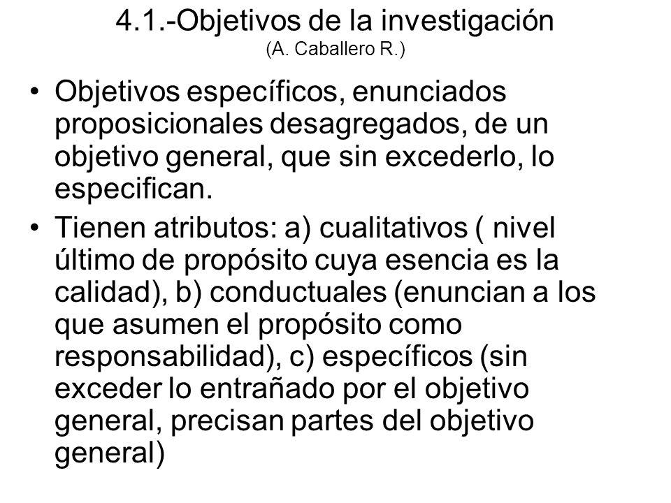 Objetivos específicos, enunciados proposicionales desagregados, de un objetivo general, que sin excederlo, lo especifican.