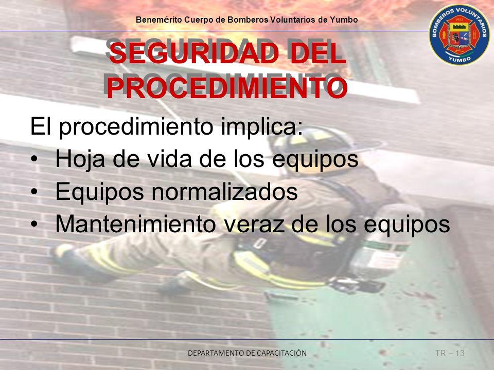 Benem é rito Cuerpo de Bomberos Voluntarios de Yumbo DEPARTAMENTO DE CAPACITACIÓN TR – 13 SEGURIDAD DEL PROCEDIMIENTO El procedimiento implica: Hoja d