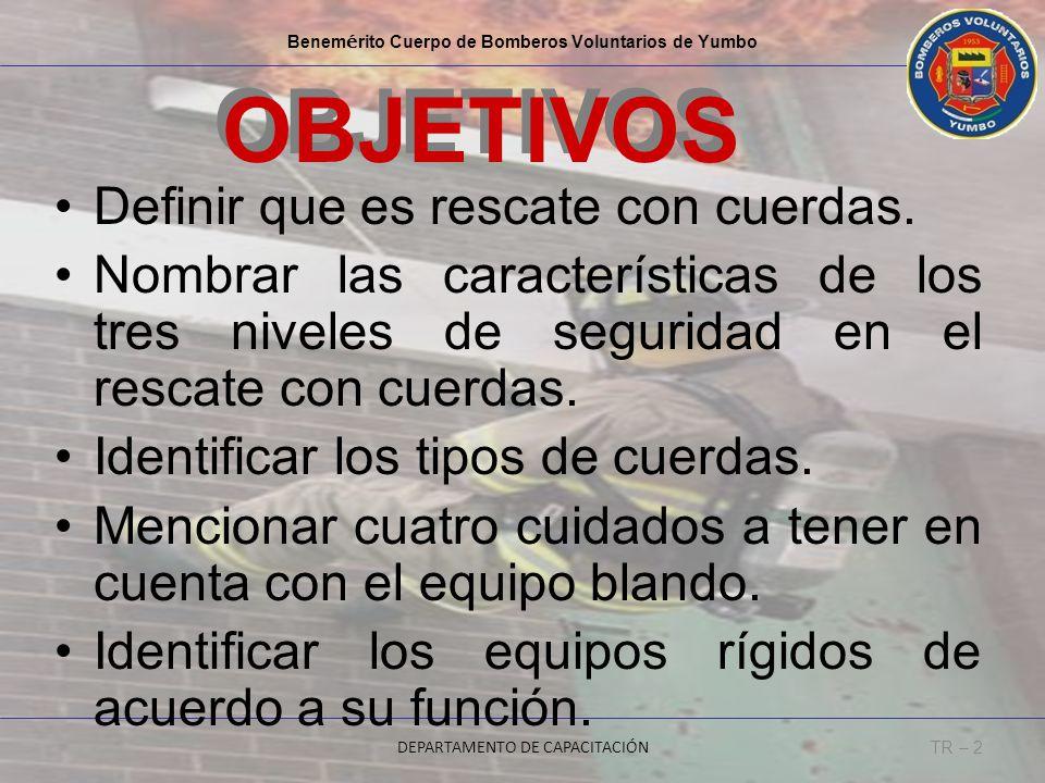 Benem é rito Cuerpo de Bomberos Voluntarios de Yumbo DEPARTAMENTO DE CAPACITACIÓN TR – 2 OBJETIVOS Definir que es rescate con cuerdas. Nombrar las car