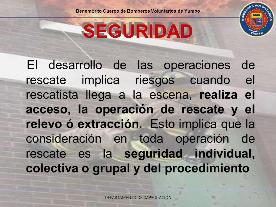 El desarrollo de las operaciones de rescate implica riesgos cuando el rescatista llega a la escena, realiza el acceso, la operación de rescate y el re