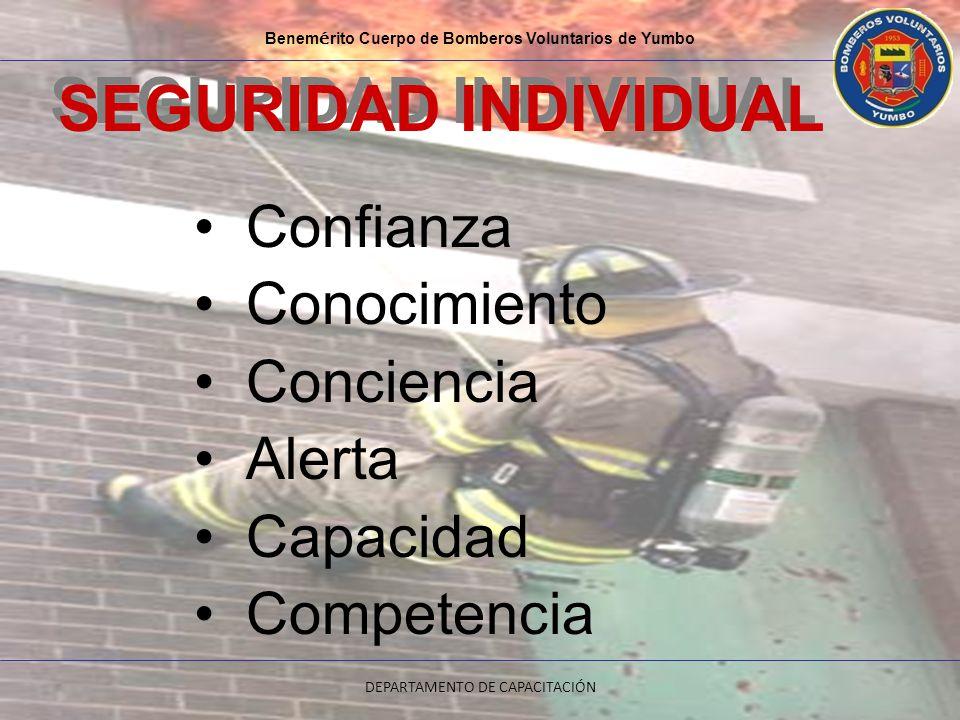 Confianza Conocimiento Conciencia Alerta Capacidad Competencia Benem é rito Cuerpo de Bomberos Voluntarios de Yumbo DEPARTAMENTO DE CAPACITACIÓN SEGUR