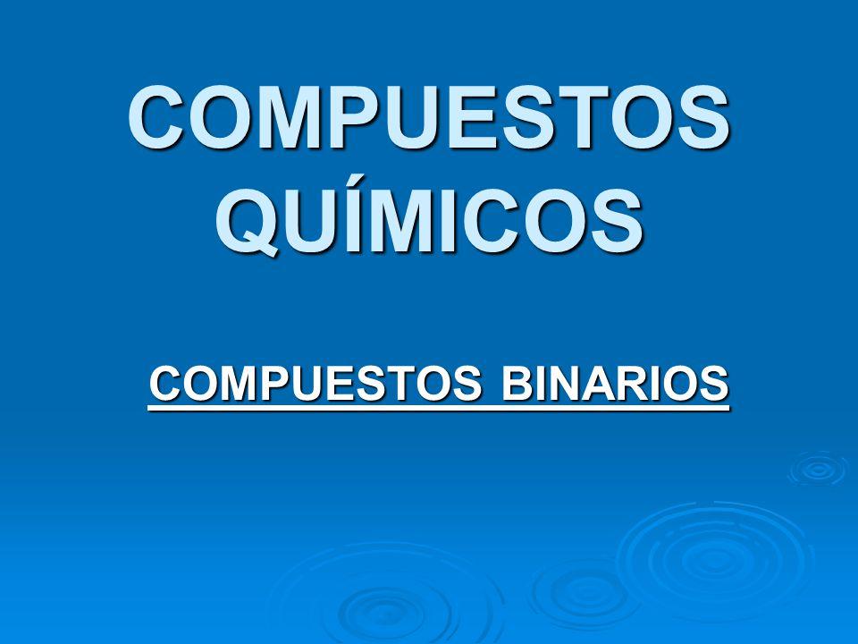 Temas a desarrollar: Compuestos Químicos: Definición Clasificación Compuestos Binarios: Óxidos Hidruros Sales de Hidrácidos Nomenclatura de los compuestos binarios