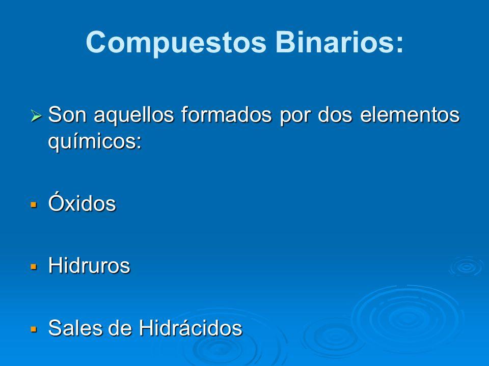 Compuestos Binarios: Son aquellos formados por dos elementos químicos: Son aquellos formados por dos elementos químicos: Óxidos Óxidos Hidruros Hidrur