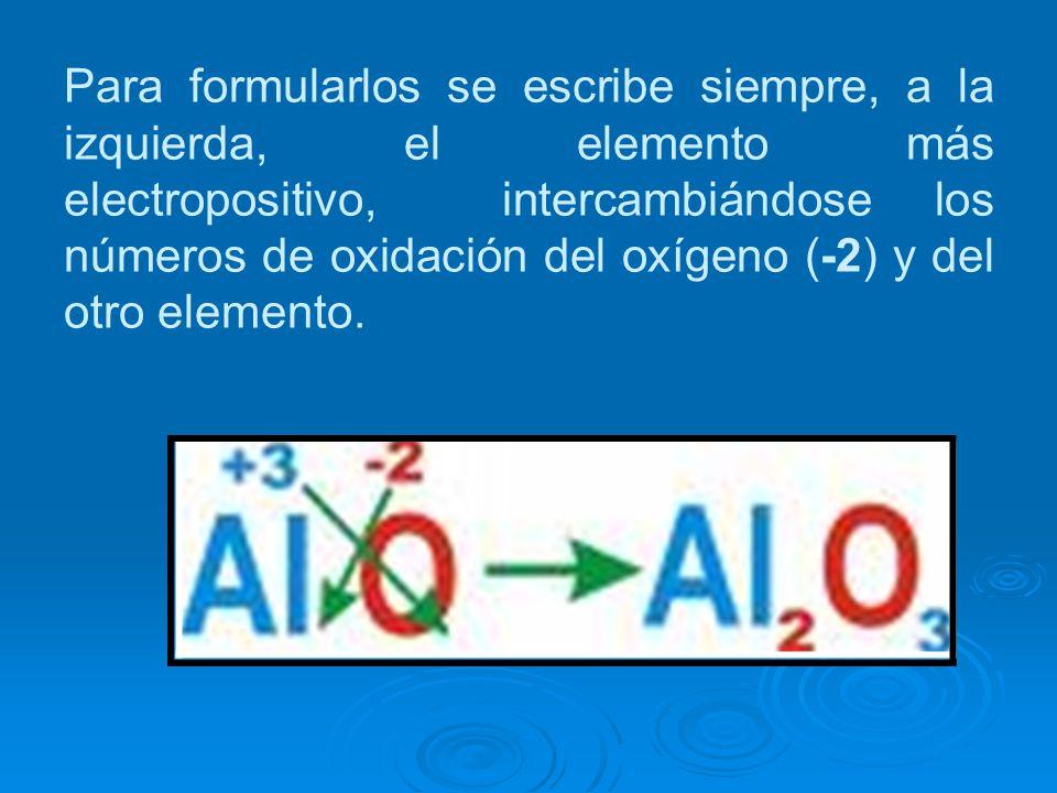 Para formularlos se escribe siempre, a la izquierda, el elemento más electropositivo, intercambiándose los números de oxidación del oxígeno (-2) y del