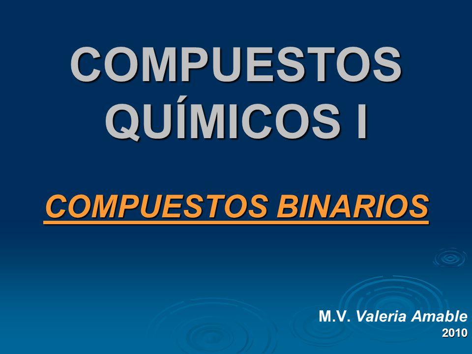 COMPUESTOS QUÍMICOS I COMPUESTOS BINARIOS M.V. Valeria Amable2010