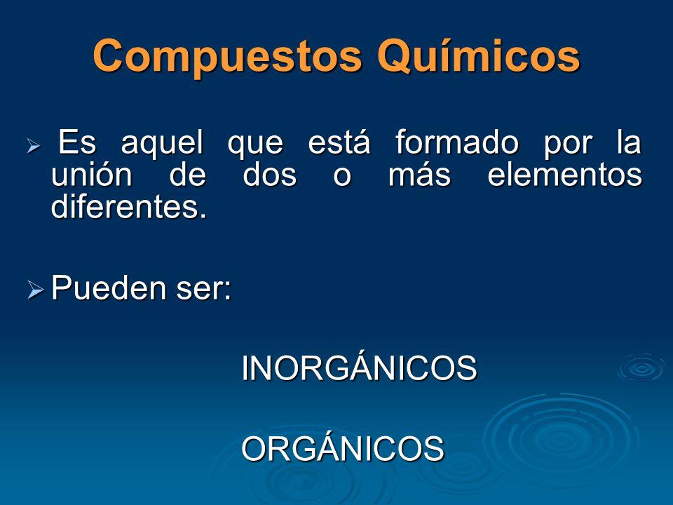 Compuestos Químicos Es aquel que está formado por la unión de dos o más elementos diferentes.